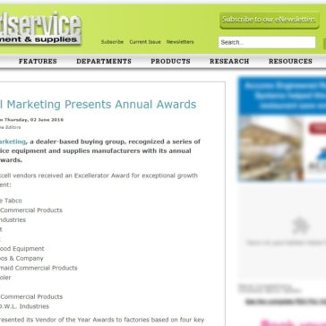 Excell Marketing presents annual award- Foodservice Equipment & Supplies