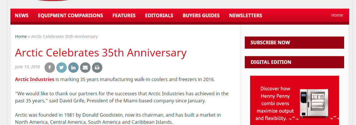 Arctic celebrates 35th Anniversary- Foodservice Equipment Reports