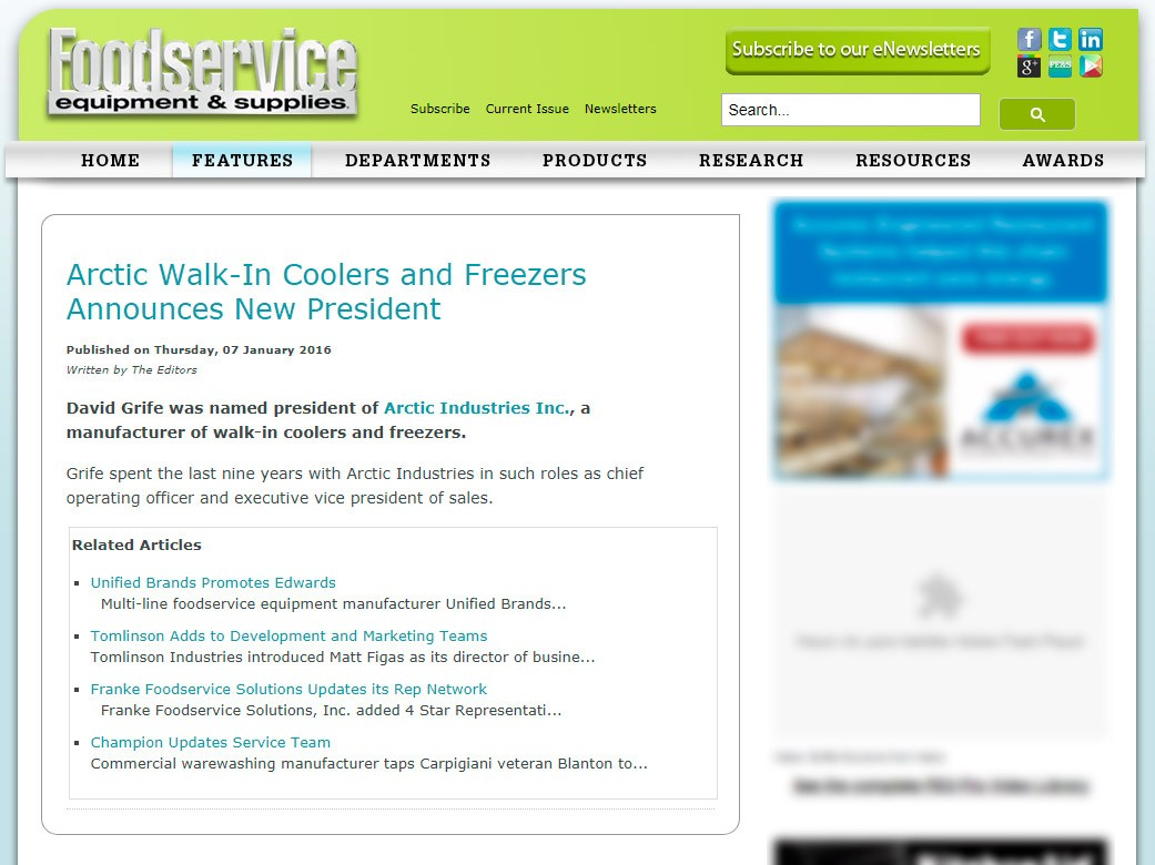 Arctic Walk-In Coolers announces new president- Foodservice Equipment & Supplies